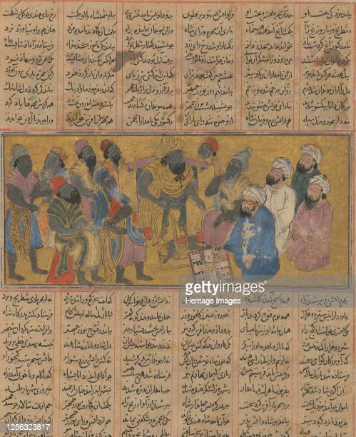Buzurjmihr Explains the Game of Backgammon to the Raja of Hind, Folio from the First Small Shahnama , circa 1300-30. Artist Unknown.