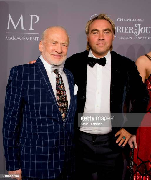 Buzz Aldrin and donor Johan Ernst Nilson attend the 2018 amfAR Gala New York at Cipriani Wall Street on February 7 2018 in New York City