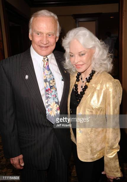 Buzz Aldrin and Lois Aldrin arrive at the 25th Anniversary Of CedarsSinai Sports Spectacular held at Hyatt Regency Century Plaza on May 23 2010 in...