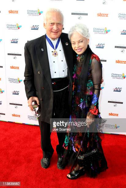 Buzz Aldrin and Lois Driggs Cannon arrive at Dream For Kids Grand Opening Gala supported by AEG and presented by Starz LLC benefitting Children's...