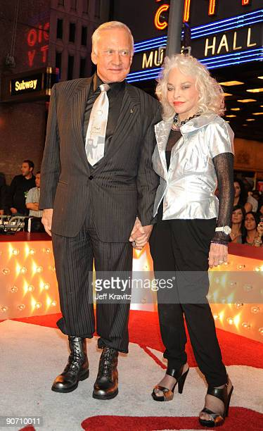 Buzz Aldrin and wife Lois Aldrin arrive at the 2009 MTV Video Music Awards at Radio City Music Hall on September 13 2009 in New York City