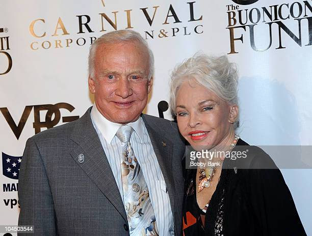 Buzz Aldrin and wife Lois attend the 25th Annual Great Sports Legends Dinner at The Waldorf=Astoria on September 27, 2010 in New York City.