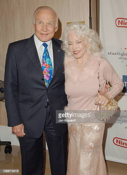Buzz Aldrin and wife Lois Driggs Cannon during Starlight Starbright Children's Foundation Honors Dakota Fanning at A Stellar Night Gala Arrivals at...