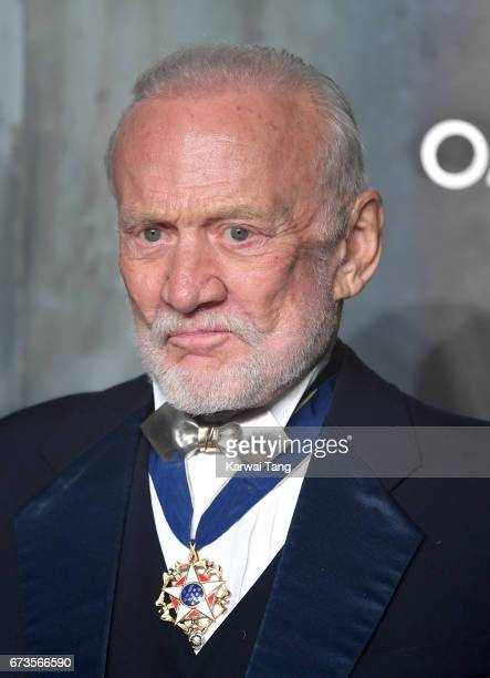 Buzz Aldrin attends the Lost In Space event to celebrate the 60th anniversary of the OMEGA Speedmaster at the Tate Modern on April 26 2017 in London...