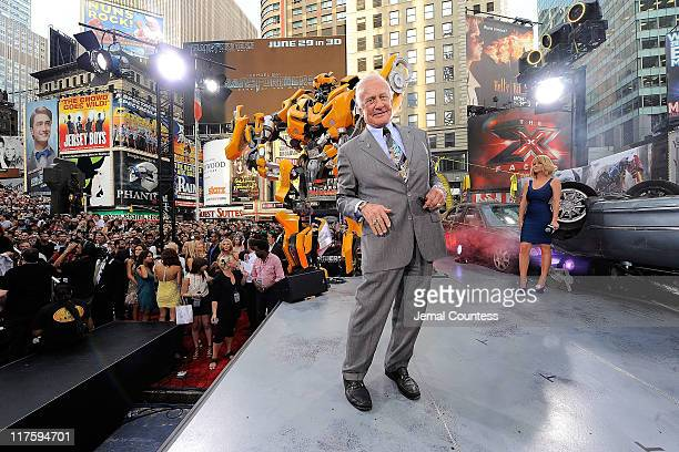 Buzz Aldrin attends the New York premiere of 'Transformers Dark Of The Moon' in Times Square on June 28 2011 in New York City