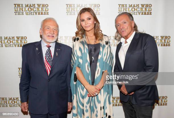 Buzz Aldrin executive producer Lola Tillyaeva and Armand Assante at the premiere of THE MAN WHO UNLOCKED THE UNIVERSE on June 21 2018 in West...