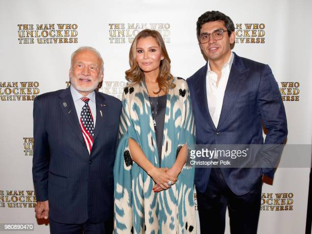 Buzz Aldrin executive producers Lola Tillyaeva and Timur Tillyaev at the premiere of THE MAN WHO UNLOCKED THE UNIVERSE on June 21 2018 in West...