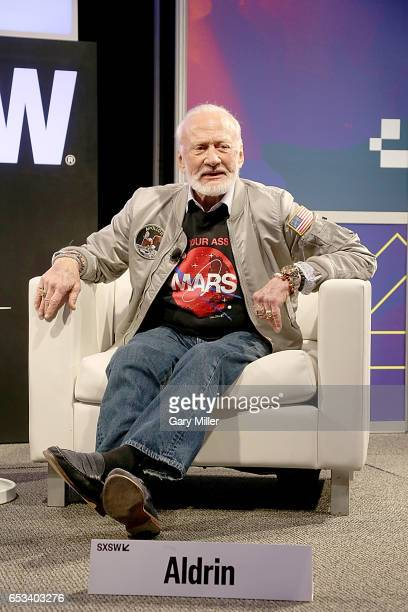 Buzz Aldrin is interviewed by Jeffery Kluger at the Austin Convention Center during the South by Southwest Conference and Festival on March 14 2017...