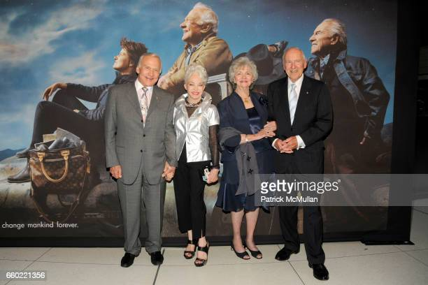 Buzz Aldrin Lois Aldrin Marilyn Lovell and Jim Lovell attend LOUIS VUITTON 40th Anniversary of the Lunar Landing Tribute Event at Rose Center for...
