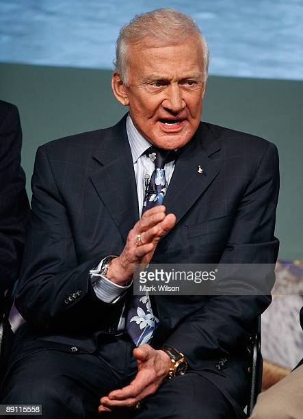 Buzz Aldrin of Apollo 11 particpates in a news conference at NASA Headquarters on July 20 2009 in Washington DC Today marks the fortieth anniversary...