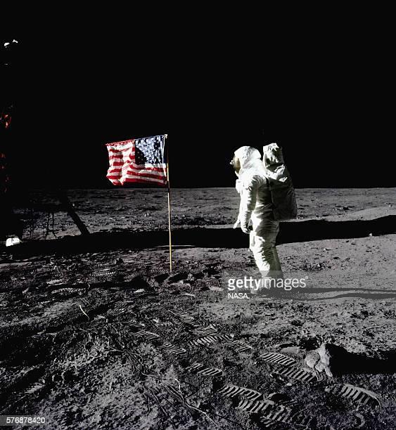 'Buzz' Aldrin Saluting the Flag