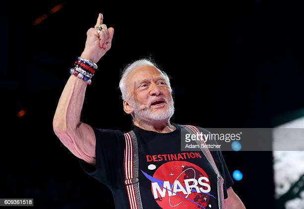 Buzz Aldrin speaks during WE Day Minnesota at Xcel Energy Center on September 20 2016 in St Paul Minnesota