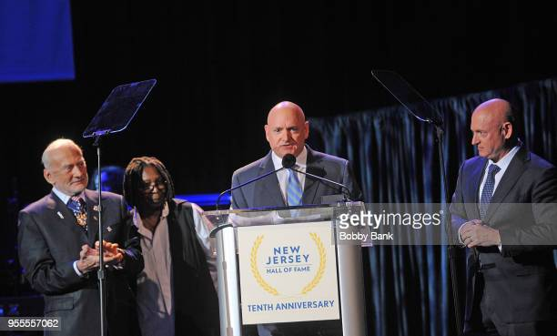 Buzz Aldrin Whoopi Goldberg Mark Kelly and Scott Kelly attend the 2018 New Jersey Hall Of Fame Induction Ceremony at Asbury Park Convention Center on...