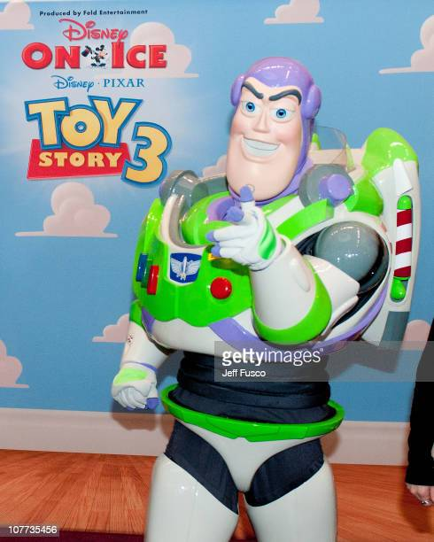 Buzz Lightyear from Disney Pixar's 'Toy Story 3' poses at the Please Touch Museum December 22 2010 in Philadelphia Pennsylvania