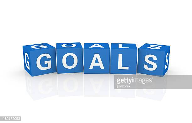 buzzword cubes: goals - single word stock pictures, royalty-free photos & images