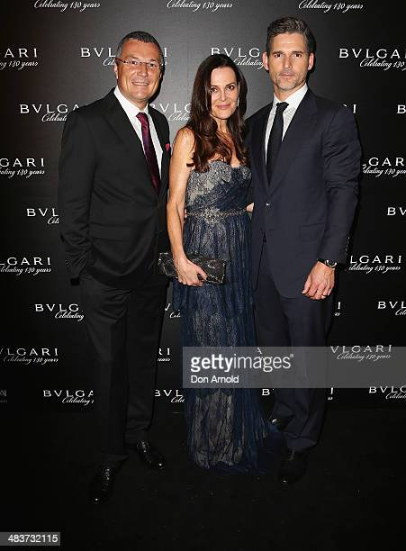 Bvlgari CEO JeanChristophe Babin poses alongside Rebecca Gleeson and husband Eric Bana at the 130th Anniversary of Bvlgari Gala Dinner at a private...