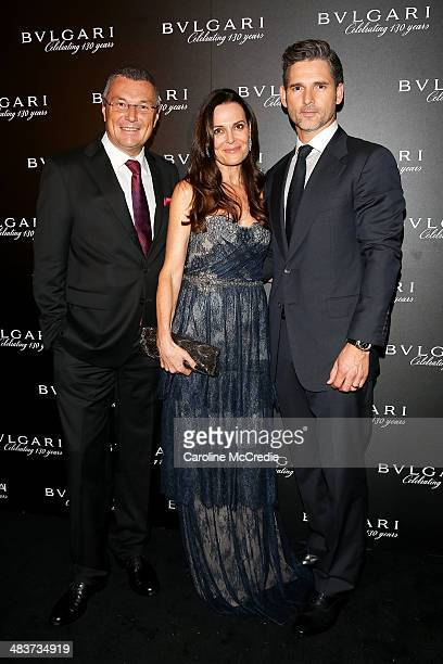 Bvlgari CEO JeanChristophe Babin Rebecca Gleeson and Eric Bana attend the 130th Anniversary of Bvlgari Gala Dinner on April 10 2014 in Sydney...