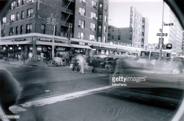 b&w busy nyc street scene (film) - film noir style stock photos and pictures