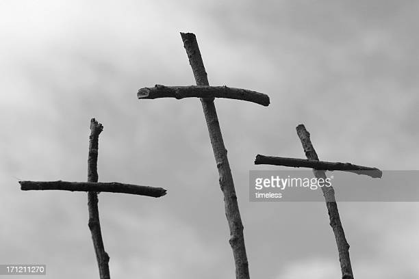 bw Easter crosses