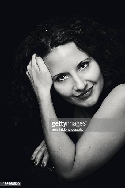 bw portrait attractive italian woman classic pose