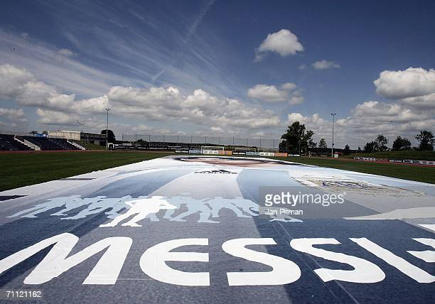 A 60 by 15 metre big poster of Lionel Messi of Argentina is diplayed at the World of Sports Stadium on June 4 2006 in Herzogenaurach Germany