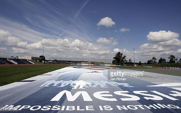 A 60 by 15 metre poster of Lionel Messi of Argentina is diplayed at the World of Sports Stadium on June 4 2006 in Herzogenaurach Germany