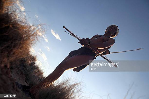 STORY by Alexandra Lesieur This photo taken on July 4 2010 shows 37yearold bushmen hunter handcrafter and animal tracker Blade Witbooi hunting in...