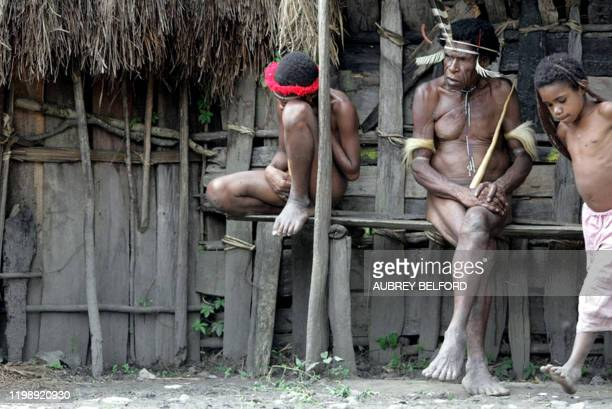 """By Aubrey Belford Papuanese men wear traditional Papua's clothing """"Koteka"""" in Kurulu on November 22, 2008. Wearing nothing but feathers and a long,..."""