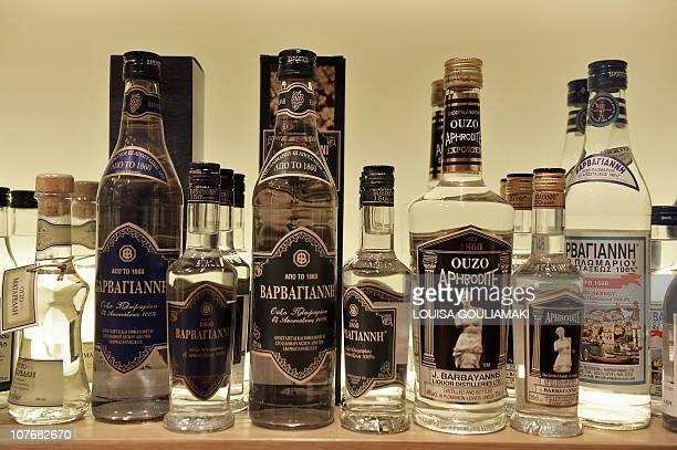 In this picture taken on September 4 2010 Ouzo bottles of different producers are on display at the traditional Lesbos products shop in the town of...
