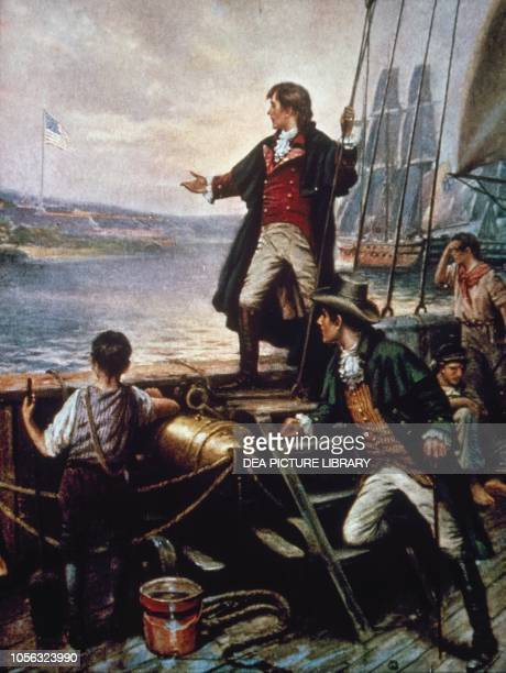 By Dawn's Early Light Francis Scott Key author of the American national anthem and Colonel John Skinner watching the American flag flying on Fort...