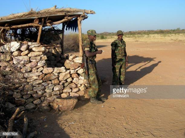 STORY by Emmanuel Goujon Ethiopian soldiers man a check point on a road leading to the eastern Ethiopian border town of Badme on November 5 2008...