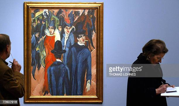 """By EMSIE FERREIRA - FILES - Picture taken 08 December 2004 shows visitors looking at the painting """"Berliner Strassenszene"""" by German expressionist..."""