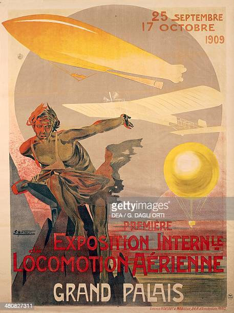 Posters France 20th century Premiere Exposition International de Locomotion Aerienne poster for the first international exhibition of aerial...
