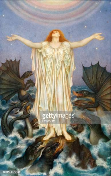 SOS' 1916 by Evelyn De Morgan English PreRaphaelite painter The central figure represents innocent victims in war looking for heavenly help as a sea...