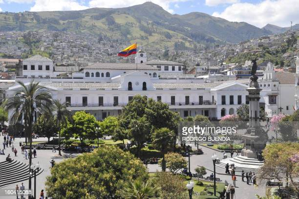 SPANISH by Hector Velasco The national flag of Ecuador flutters over Carondelet presidential palace in Quito's Plaza Grande square on September 12 in...