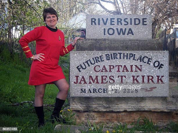 STORY by Hieu Pham EntertainmentUSfilmtourismStarTrek Star Trek TrekFest organizer Carol Riggan poses next to memorial designating the future...