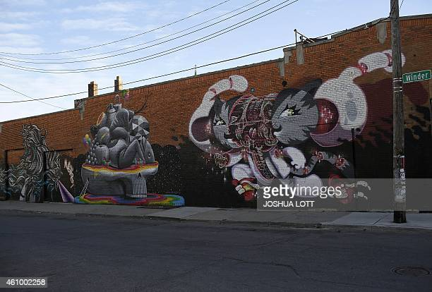 STORY by Joe Szczesny UScityDetroitautodebt Graffiti murals are displayed across the street from the Red Bull House of Art gallery January 1 2015 in...