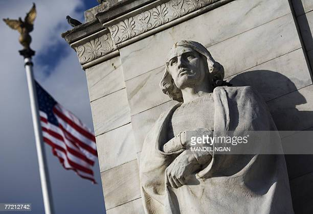 STORY by Karin ZEITVOGEL LifestyleUSholidayColumbus A 06 October 2007 photo shows the statue of Christopher Columbus at Columbus Circle in front of...