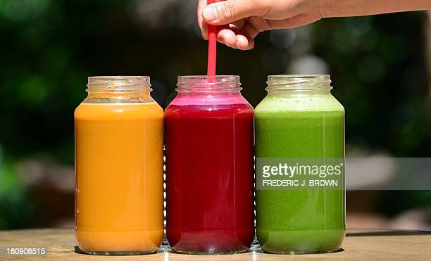 STORY by Leila Macor LifestylefoodUShealthjuice Freshly made juices are displayed at the Silver Lake Juice Bar on September 17 2013 in the Silver...