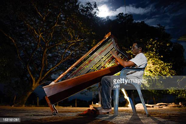 STORY by Lissy De Abreu A man plays the harp at a ranch in the southwestern town of Sabaneta Barinas State on September 27 2012 Sabaneta the small...