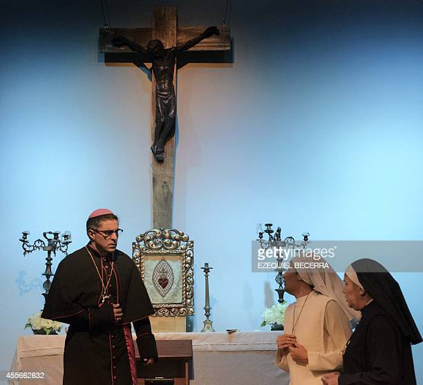 STORY by Maria Isabel Sanchez Actors rehearse El Martirio del Pastor a play based on the life of Salvadorean murdered archbishop Oscar Arnulfo Romero...