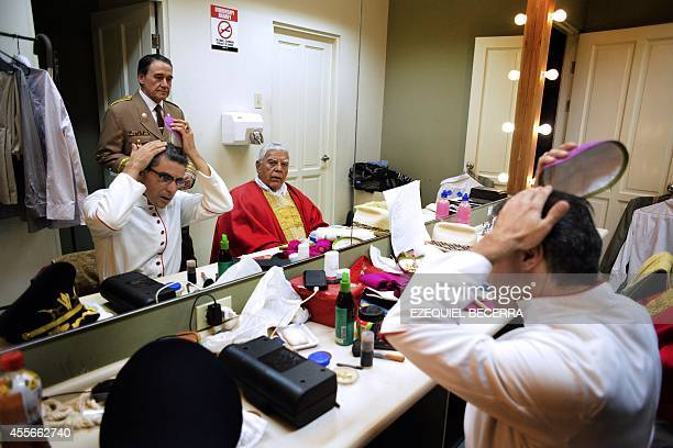 STORY by Maria Isabel Sanchez Costa Rican actor Andres Montero is seen between acts during the rehearsal El Martirio del Pastor a play based on the...