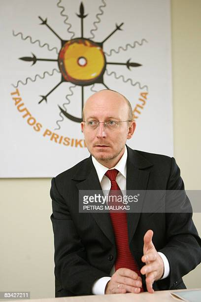 By Marielle Vitureau The leader of the People's Resurrection Party, Lithuanian TV showman and producer Arunas Valinskas poses in Vilnius on October...
