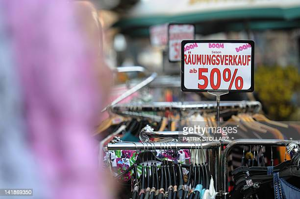 STORY by MATHILDE RICHTER Picture taken on March 22 2012 shows products of a shop offering sales in Oberhausen western Germany Mayors in debtmired...