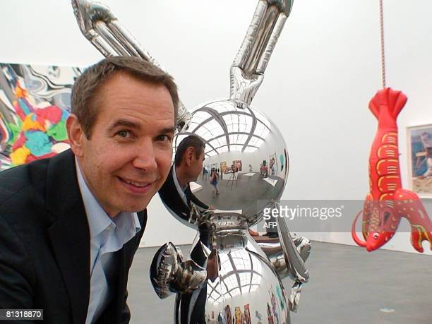 STORY by Mira Oberman EntertainmentUSartkoons Jeff Koons poses with his iconic Rabbit sculpture in Chicago on May 29 2008 as he prepares for his...