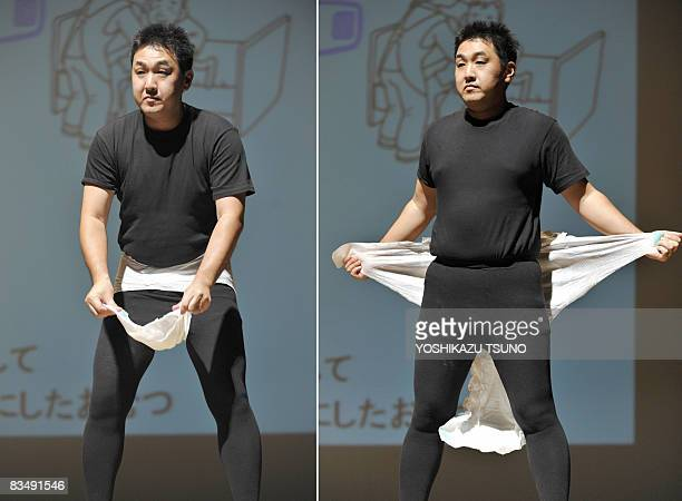 STORY by MIWA SUZUKI FILES This combo picture shows a Japanese model demonstrating how to put the latest style of adult diaper during its fashion...