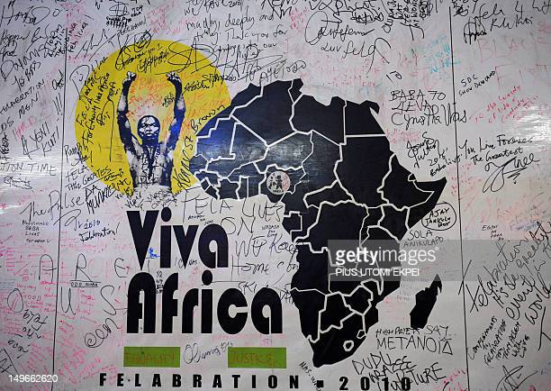 STORY by MJ Smith A picture taken on July 19 2012 shows a billboard of the annual Felabration musical festival at the New Afrika Shrine in Lagos...