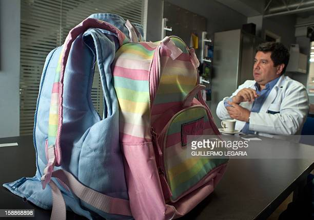 STORY by Nina Negroni Colombian businessman Miguel Caballero shows bulletproof backpacks which are part of his new clothing line for children with...