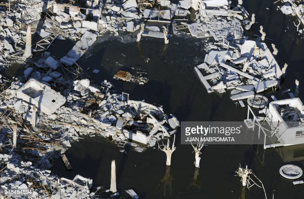 STORY by Oscar Laski Aerial picture of Lago Epecuen village some 600 km southwest of Buenos Aires taken on May 4 2011 after it remained flooded for...