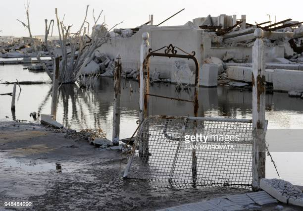 STORY by Oscar Laski Picture of the ruins of Lago Epecuen village some 600 km southwest of Buenos Aires on May 3 2011 after the place remained...